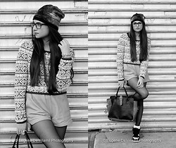 Amy Marietta - Urban Outfitters Beanie, Anthropologie Sweater, White Suede Shorts, Modern Vice Shoes - Foot Werk