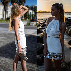 Dasha Gold - Blesse'd Are The Meek Dress, H&M Cuff Bracelet, Sportsgirl Cream And Rose Gold Ncklace, Vintage Store Egyptian Papyrus Hand Painted Clutch - Sunset in Paradise