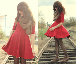 Tonya S. - Black Sheep Clothing Olivia Dress, Forever 21 Knit Scarf, Vintage Boots - Little Red Dress