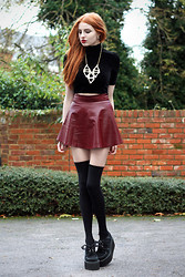 Olivia Emily - Os Heartwave Neckalce, Bitching And Junkfood Velvet Polo Neck Top, Claret Skater Skirt, Underground Triple Creepers - Heartwave.