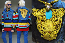 Andre Judd - Turquoise Neckpiece, Customized H. Custodio Leopard Pendant With Barrel Ring Neckpiece, Tnc Denim Sleeveless Cropped Vest With Tiger Embroidery, Mundo Striped Sweater, Periwinkle Trousers - LA PETITE et LA GRANDE Panthère