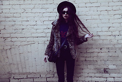 Violet Ell - Unif Jacket, Bracelet, Diy Slayer Tee, Ray Ban Sunglasses, Thrift Store Hat - 22.09.2012