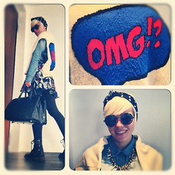 Marta Chic - Primark Omg Jumper, Firmoo Round Glasses, H&M Skirt, Handmade Milano Leather Bag - OMG!?