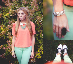 Laura Jude Hathaway - Target Bib Necklace, Forever 21 Peter Pan Collar Blouse, Bdg Mint Skinnies, H&M Pyramid Bracelt, Vintage Ring, Vintage Saddle Shoes - Coral + Mint