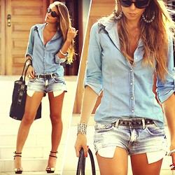 Vanessa Vasconcelos - Forever 21 Denim Shirt, Damyller Denim Shorts, Schutz Glitter Sandals - Denim on denim