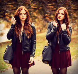 Valentine S. ☽ - H&M Burgundy Dress - BURGUNDY DRESS & STUDDED BAG