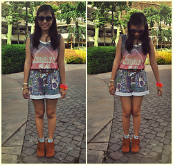 Christelle Mae Dacalus - Call It Spring Fringe Boots, Payless Shoe Stores Floral Gray Socks, Thrifted Aztec Shorts, Forever 21 Studded Belt, Artwork Galaxy Shirt, Charles & Keith Sunnies - Galaxy. Aztec. Fringe.