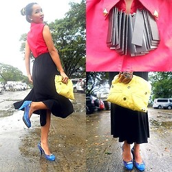 KIM NIEVES - Red Top, Midi Skirt, Yellow Studded Clutch, Blue Studded Heels, Fringe Block Necklace, Salvatore Ferragamo Emblem Ring - The Triad Granny!