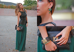 Kier Mellour - Tinley Road Leather Top, Bracelet, Michael Kors Bag - Emerald City.