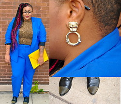 Tiffany Tucker - Simply B Blue Blazer, Simply Be Blue Trousers, Thrifted Leopard Top, Dolce Vita Studded Brogues, Asos Oversized Clutch, Asos Door Knocker Earrings - Suited Up