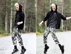 Robbie Jonsson - Weekday Shirt, H&M Hoodie, Weekday Necklace, Diy Pants, Topeco Socks, Vagabond Shoes - Boy, you're in the army now