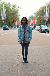 Poppy Lee Jones - Levi's® Denim Jacket, New Look Floral Skirt, H&M Plaid Shirt, Tights, Dr. Martens Doc -  you're either heading somewhere or ending up somewhere