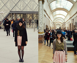 Grace J - H&M Circle Scarf, Forever 21 Skirt, Top, Zara Cardi - The Louvre