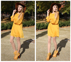 Ann O. - New Yorker Hat, H&M Dress, Jeffrey Campbell Boots - WHEN AUTUMN LEAVES START TO FALL...