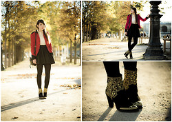 Jessica D - Zara Boots, The Kooples Skirt - Autumn gold