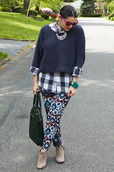 Gabriela Monsanto - Christian Dior Sunglasses, J. Crew Necklace, Old Navy Sweater, J. Crew Blouse, Zara Pants, Sam Edelman Shoes, Zara Bag - Print Overload