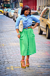 Tammy 212 - Steve Madden, Amsterdamn Boutique Open Toe Pumps, Steet Vendor Accesssories, H&M Denim Shirt, Mint Green - Color Blocking x NYC Streets