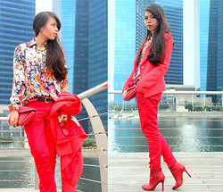 MASTURAH K. - Mango Red Pants, Mango Red Blazer, Floral Shirt, Mango Red Quilted Cluthch, Bershka Red Boots - Go Red.