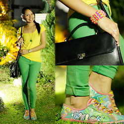 For All Things Pretty By Janjie & Jhet - Thrifted Yellow Tee, Thrifted Green Leggings, Personalized   Thrifted Hand Painted Shoes - Great Weeks Start with Bright Mondays