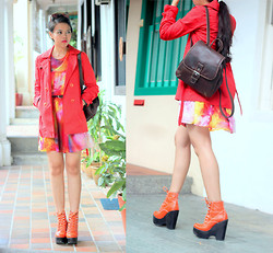 MASTURAH K. - Forever 21 Orange Trench Coat, Jeffrey Campbell Orange Tardy Boots, Asos Dye Dress - Hey Orange.