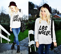 Natalie H - Dr. Martens Boots, Jeans, Sweatshirt, Hat, Bag - Let's get out of this town, baby, we're on fire...
