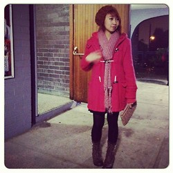 Janelle A - Miu Purse, Studded Boots, Red Coat, Aldo Beanie, Forever 21 Pink Scarf - Not Tonight