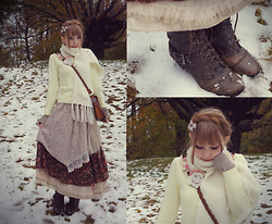 Emilka P - Yellow Cardigan, Mori Skirt, Cozy Scarf - Welcome to the realm of madame Winter...