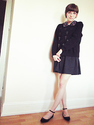 Toni Caroline - Black Cross Stud Sweater, Jewel Collar Dress, Black Stud Flats - ALEXA