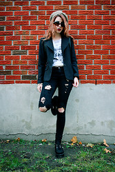 Aileen E. - Thrifted Blazer, Forever 21 Ripped Jeans, Thrifted Beret - Loretta Young Silks