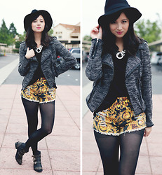 Chesley Tolentino - Minkpink Shorts, Target Jacket, Sira & Mara Usa Necklace, Booties - Slashed Baroque