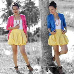 For All Things Pretty By Janjie & Jhet - Pastelleshop Pink Blazer, Thrifted Yellow Balloon Skirt, Pastelleshoppe Blue Blazer, Thrifted Brown Leather Boots - Pink or Blue