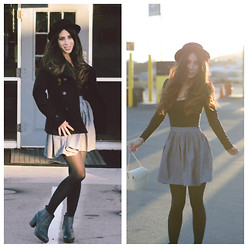 Natalie DLV - American Apparel Dress, American Apparel Chambary Skirt, Topshop Booties, Cotton On Hat, H&M Jacket, Zara Purse - Keep on truckin.