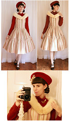 Tyler H - My Own Work Striped Dress, Walmart Cream Lace Stockings, Clarks Brown Heels, My Own Work Gold Bow Shoeclips, Gift Red Beret, My Own Work Striped Bow, Lily Of The Valley Tatted Camera Strap, Gift Parrot Brooch, Thrifted And Altered Red Turtleneck, Vintage (Gift) Mink Stole - To see the Circus
