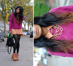 Kavita D - Jeffrey Campbell Lita, Yuki Shirt Dress, Nowistyle Now Istyle Rugundy Knit, Alexander Wang Kirsten Tote, Vintage Gold Necklace - Little Things