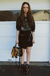 Stacey Belko - Sheinside Skirt, Shoemint Bag, Finsk Wedges - Powderpuff + ray ban giveaway.