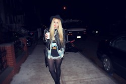 Nicole Alyse - Levi's® Vintage Shorts, Vintage Leather Jacket, Vintage Harley Tee, Vintage Flannel - Late night coffee run.