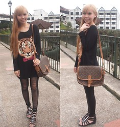 Esther Xie - Lyraminn Tiger Top, Mum's Wardrobe Sling Bag, Ripped Leggings, Bugis Street Sandals - A Tiger Does Not Lose Sleep Over The Opinion Of Sheep