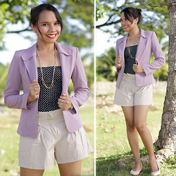 For All Things Pretty By Janjie & Jhet - Thrifted Purple Office Blazer, Polka Dotted Corset, Zara Closed Wedge Shoes - Smart Casual