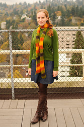 Stacey L - Forever 21 Green Sweatshirt, Gap Denim Skirt, Made By Me Scarf, Jessica Simpson Brown Boots - Autumn