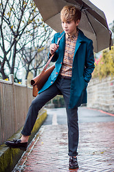 Dake Hu - Lucarne Shirt, Lucarne Pants, Lucarne Trench Coat, Uniqlo Belt, The Cambridge Satchel Company Bag - Rainy Day