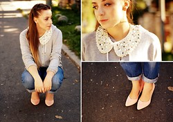Anna Seman - H&M Collar, Big Star Jeans - Pearl-collar worker