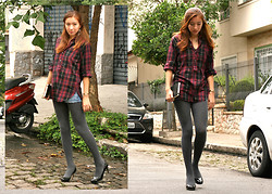 Isa M. - Rugby Ralph Lauren Plaid Flannel Shirt, Hue Wool Blend Stockings, Ak Anne Klein Black Patent Pumps - Three.