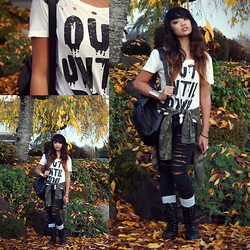 Samantha San Antonio - Forever 21 Destroyed Tee, Cole Haan Leather Backpack, Pacsun Camo Jacket, Slashed Jeggings, Forever 21 Gold Cuff, H&M Beanie, Combat Boots - Out until dawn.