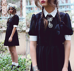 Bebe Zeva - Romwe Salem Witch Dress, This Is Transition Cross Necklace - SALEM