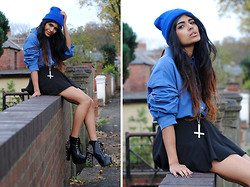 Kavita D - Jeffrey Campbell Spike Lita, Romwe Black Skater Skirt, Thrifted Blue Mens Shirt, Ebay Blue Neon Beanie - BLUE.