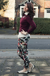 Charlotte Crowley - Topshop Floral Trousers, Primark Maroon Jumper, New Look Black And White Flats - Fall Florals