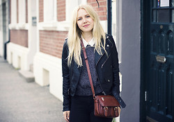Lena R.F. - H&M Shirt, Carlings Leather Jacket, Secondhand Purse, Bikbok Sweater, American Apparel Jeans - Wardrobe basics