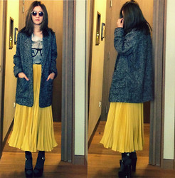 Vera Kay - Mango Oversized Blazer, Zara T Shirt, Sleeping Pills Pleated Skirt, Forever 21 Shoes - You calling me Yellow