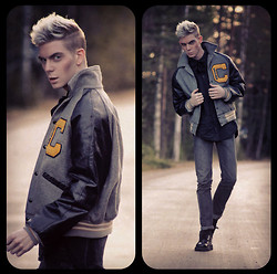 Robbie Jonsson - Secondhand Oversize Football Jacket, Weekday Shirt, Diy Bowtie, Cheap Monday Jeans, Vagabond Shoes - JOCK