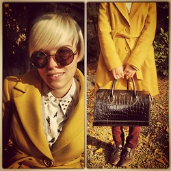 Marta Chic - Firmoo Round Glasses, Denny Rose Mustard Coat, Boxfresh London Leather Shoes - Sunny Autumn, Hot Colors.